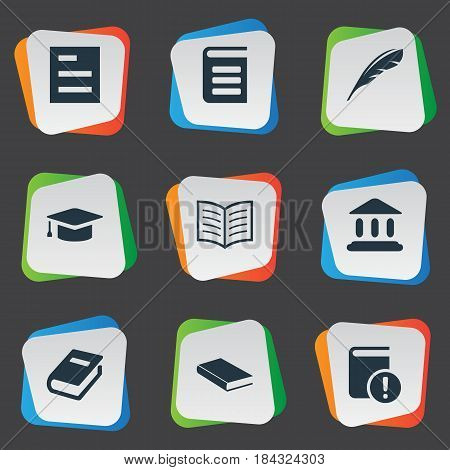 Vector Illustration Set Of Simple Education Icons. Elements Plume, Academic Cap, Notebook And Other Synonyms Hat, Quill And List.