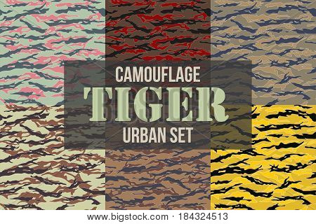Tiger stripe Urban Camouflage seamless patterns. Vector Illustration.
