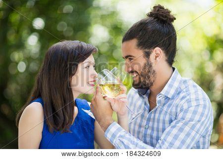 Happy couple having wine in a restaurant