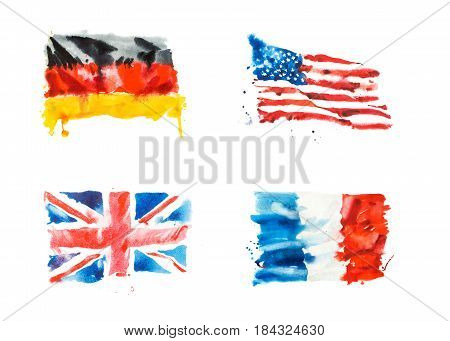 Flags of USA, Great Britain, France, Germany hand drawn watercolor illustration