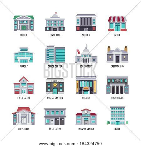 Government buildings vector flat icons set. City buildings university and courthouse, theater and police, illustration of fire station building