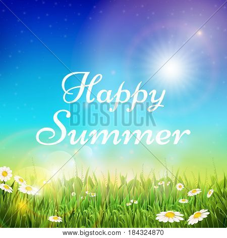 Spring and summer vector background with green grass and bright sunshine sky. Summer with sunshine bright, green summer grass in sunlight illustration