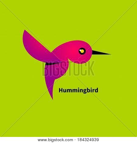 Logo of pink hummingbird. Icon birds colibri. Vector illustration