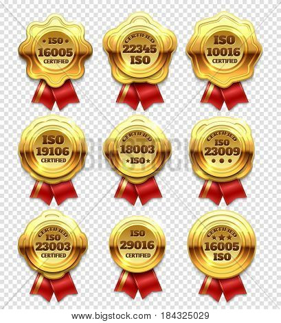 Golden certified rosettes, gold verify tokens and guarantee seals vector set. Guarantee golden label with ribbon, quality labels and badge illustration