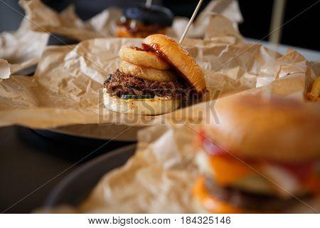 Hamburger Served In Fast Food Restaurant Menu