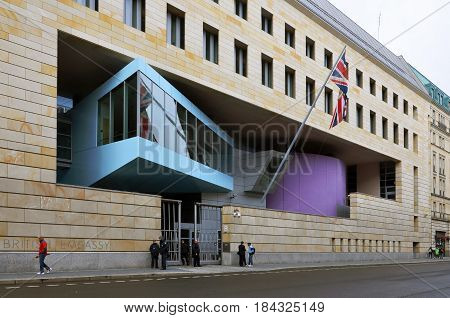Berlin, Germany - April 12, 2017: The modern building of the British Embassy in Germany. The architect is Michael Wilford.