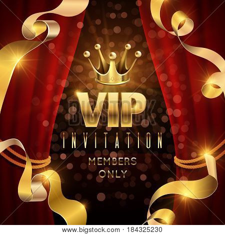 Elegance and exclusive party vector invitation with golden luxury crown. Vip invitation for only member, illustration of luxury vip club