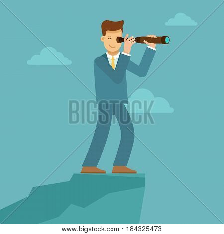 Guy Looking Through Telescope For Future Trends