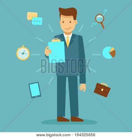 Guy Standing And Holding Business Report