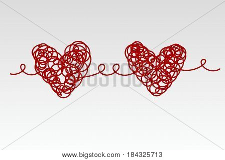 Two related scrawled hand drawn red heart. Vector illustration