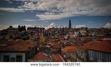 Panorama aerial view to Porto at sunset, Portugal