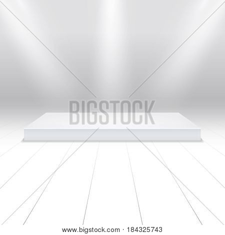 Empty white podium for products. 3d white stage in beams of searchlights. Stage in spotlight shine, illustration of scene stage