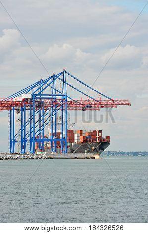 Port cargo crane ship and container Odessa Ukraine