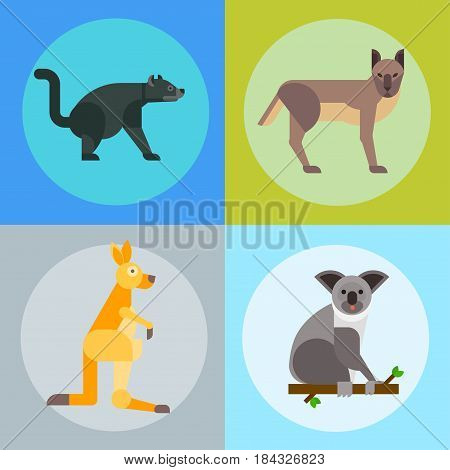 Australia wild animals cartoon popular nature characters flat style and australian mammal aussie native forest collection vector illustration. Natural little young portrait.