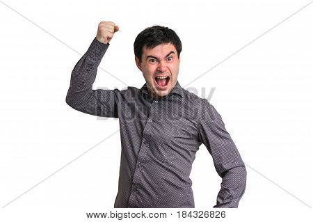 Angry and screaming man isolated on white background