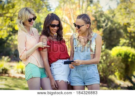 Smiling friends looking at mobile phone in park on a sunny day