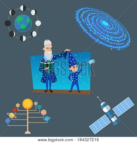Astrology astronomy icons planet science and universe space vector illustration. Constellation astrology radar cosmos sign universe technology meteor science shuttle astronaut symbol.