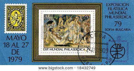 CUBA - CIRCA 1979: A stamp printed in CUBA shows paint by JULES PASCIN, circa 1979