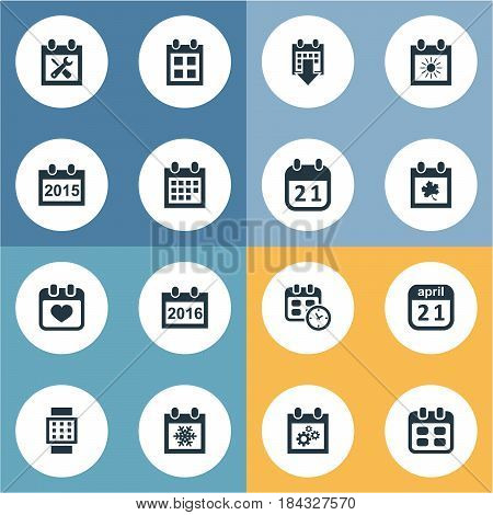Vector Illustration Set Of Simple Date Icons. Elements Snowflake, Leaf, Almanac And Other Synonyms Date, Sun And Almanac.