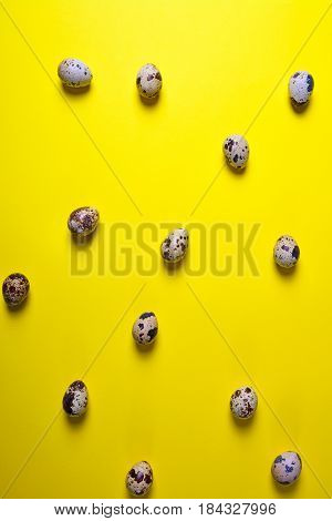 Quail raw eggs in egg shell on yellow surface abstract background top view