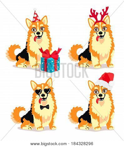 Vector illustration of a cute dog breed Corgi with New Year Attributes. Beautiful puppy symbol of 2018 year. Friend of human. Elements for a New Year's card.