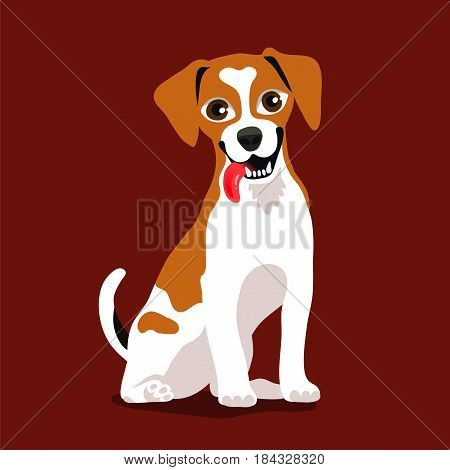 Cute lovely breed dog Jack Russell Terrier. Vector illustration on a brown background. Man's best friend. Symbol of the year 2018.