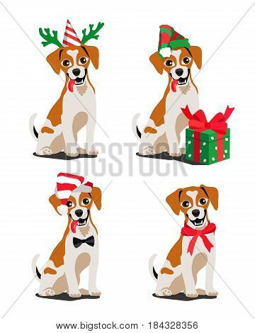 Cute breed dog Jack Russell Terrier. Vector illustration on white background. Man's best friend. Symbol of the new year 2018.