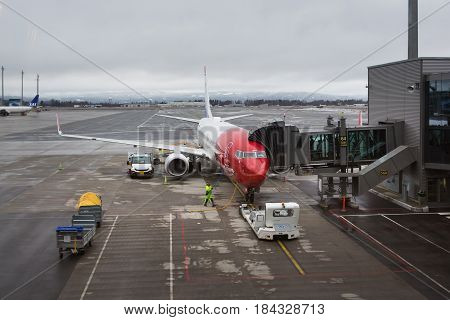 Oslo Norway - March 20 2017: Preparation of the aircraft before takeoff at the airport of Oslo