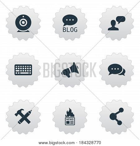 Vector Illustration Set Of Simple Blogging Icons. Elements Keypad, Repair, Gazette And Other Synonyms Discussion, Broadcast And Web.
