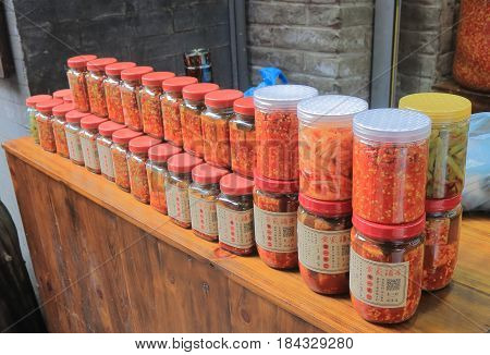 YANGSHOU CHINA - NOVEMBER 19, 2016: Traditional Chinese spice food sold in Xingping historical village. Xingping is a historical fishing village near Li river.