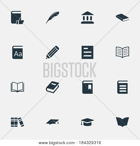Vector Illustration Set Of Simple Knowledge Icons. Elements Encyclopedia, Academic Cap, Alphabet And Other Synonyms Pencil, Encyclopedia And Blank.