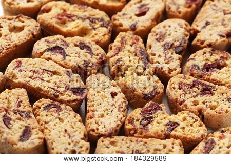 The Cantuccini cookies background, on close up