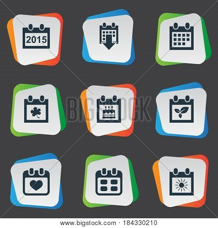 Vector Illustration Set Of Simple Date Icons. Elements Heart, Leaf, Annual And Other Synonyms Calendar, Almanac And Annual.