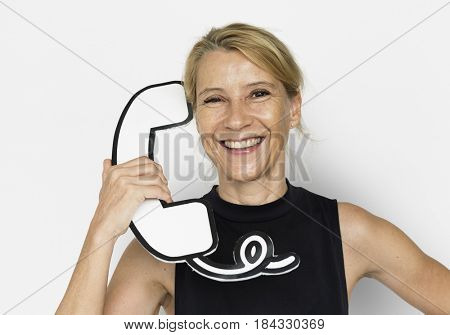 Blond White Woman Hold Telephone Studio Portrait