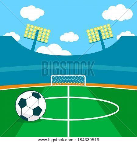 Soccer stadium and a soccer ball vector illustration