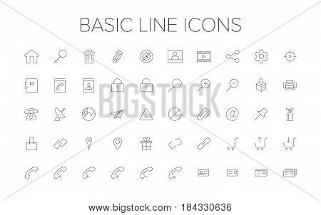 Basic Line Icon Set. Outline Icon set