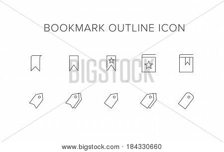 Bookmark Line Icon Set. Outline Icon set