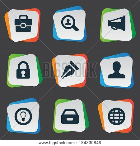 Vector Illustration Set Of Simple Job Icons. Elements Magnifier, Nib, Padlock And Other Synonyms Suitcase, Incognito And Megaphone.