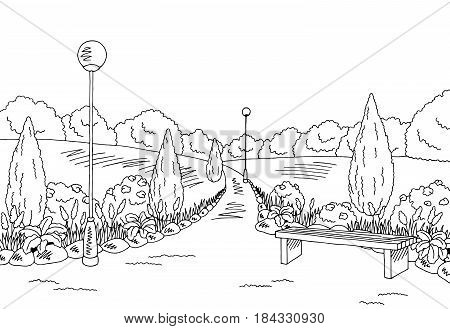 Park graphic black white bench lamp landscape sketch illustration vector