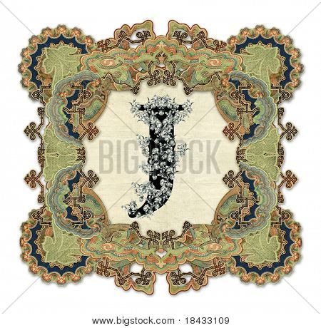 Luxuriously illustrated old capital letter J.