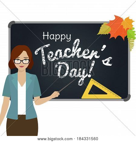 Happy Teacher Day greeting card. Teacher with pointer stand by the blackboard. Vector.