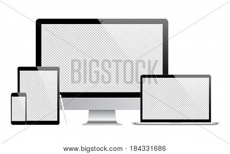 mockup gadget and device: stylus smartphone tablet laptop and computer monitor black color with blank screen isolated on white background. stock vector illustration eps10
