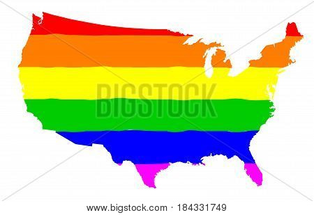 The mult coloured gay pride silk flag with United States of America map silhouette