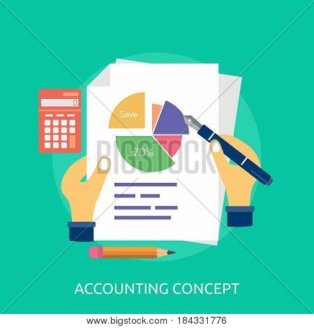 Accounting Concept Conceptual Design | Great flat illustration concept icon and use for Business, Creative Idea, Concept, Marketing and much more