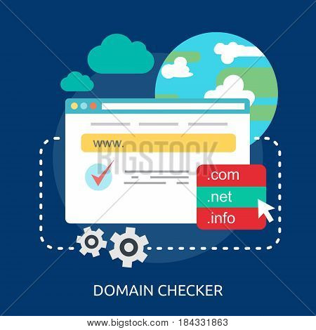 Domain Checker Conceptual Design | Great flat illustration concept icon and use for Business, Creative Idea, Concept, Marketing and much more