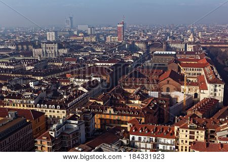Cityscape of Turin, Italy viewed from the Mole Antonelliana