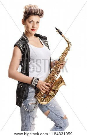 Female street performer with a saxophone isolated on white background