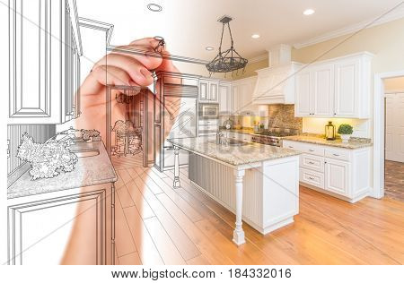 Hand Drawing Custom Kitchen Design With Gradation Revealing Photograph.