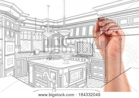 Hand of Architect Drawing Detail of Custom Kitchen Design.