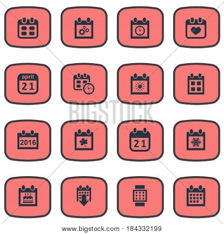 Vector Illustration Set Of Simple Date Icons. Elements Summer Calendar, Special Day, Date And Other Synonyms Data, Special And Hour.